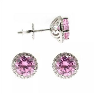 PINK beautiful diamond halo studs
